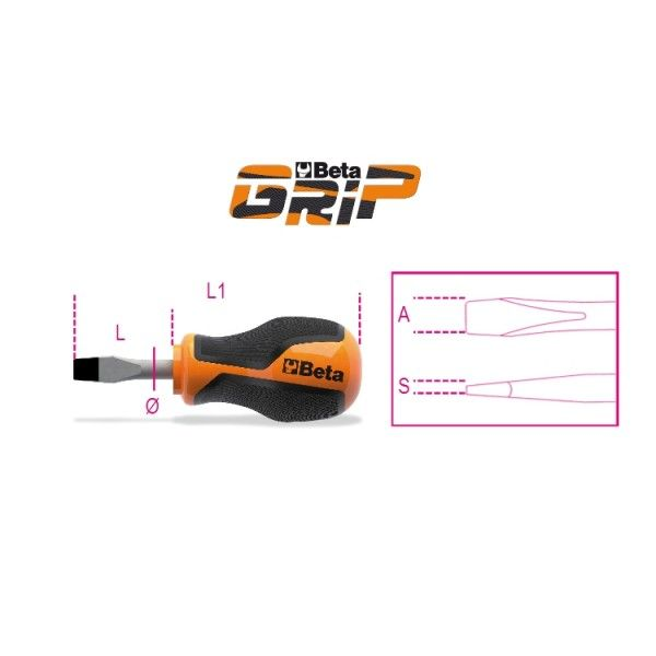 BetaGrip screwdrivers for slotted head screws