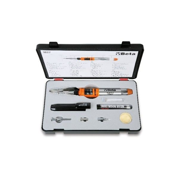 Gas soldering iron with 7 accessories in case