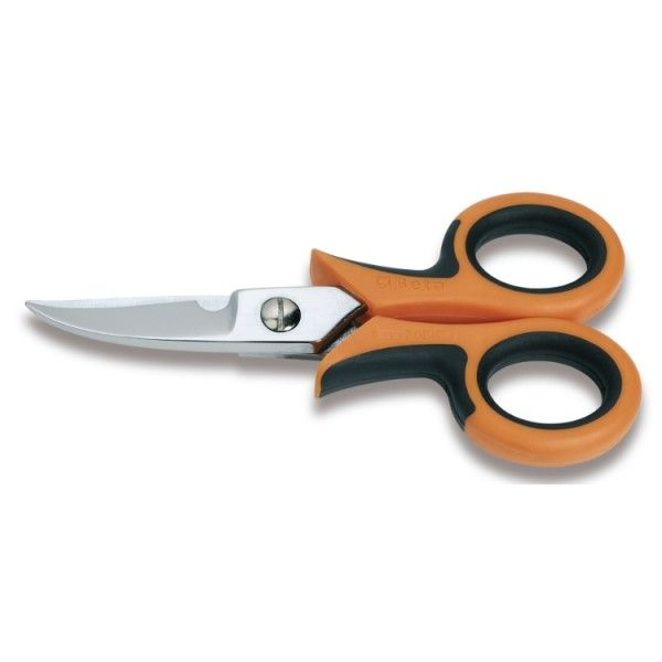 Electrician's scissors, curved blades