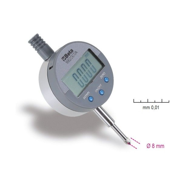 Digital dial indicator, reading to 0.01 mm