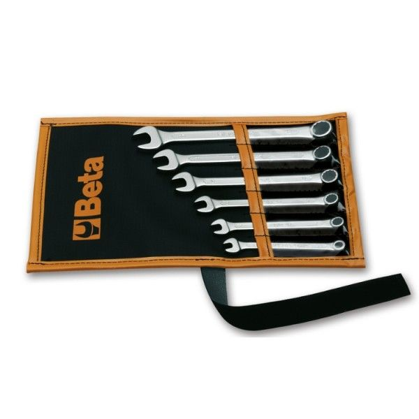 Set of nine combination wrenches in wallet