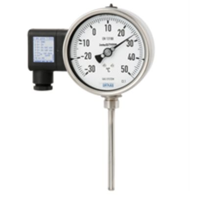 Gas-actuated thermometer with electrical output signal
