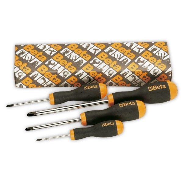 Set of 4 screwdrivers for Phillips head screws