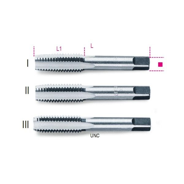 Hand taps, UNC thread, chrome-steel