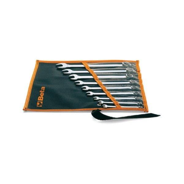 Set of combination wrenches in cloth wallet