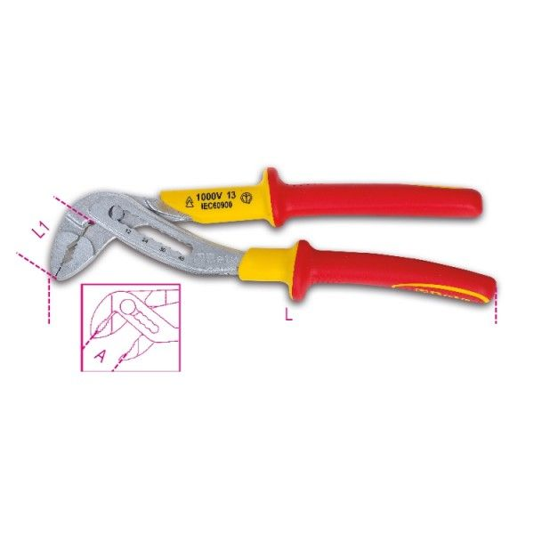 Slip joint pliers, boxed joint, insulated 1000V
